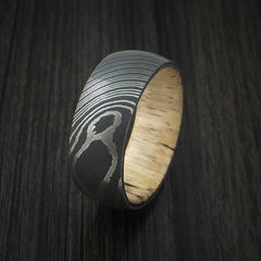 Damascus Steel Ring with Spalted Tamarind Hardwood Interior Sleeve Custom Made - Revolution Jewelry  - 4