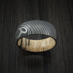 Damascus Steel Ring with Spalted Tamarind Hardwood Interior Sleeve Custom Made - Revolution Jewelry  - 2
