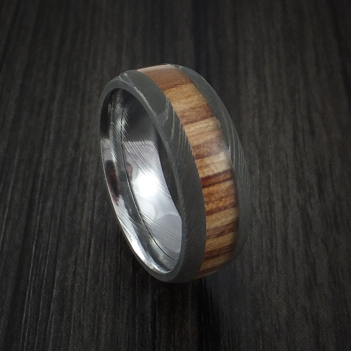 Wood Ring and DAMASCUS Ring inlaid with Teak Hardwood Custom Made