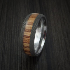 Wood Ring and DAMASCUS Ring inlaid with APPLE WOOD HARDWOOD Custom Made