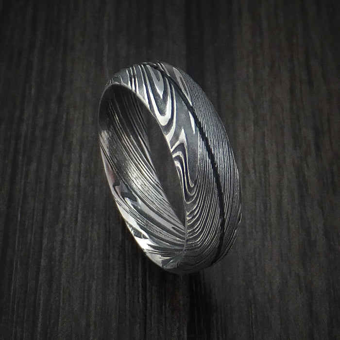 Kuro Damascus Steel Ring Wedding Band Genuine Craftsmanship