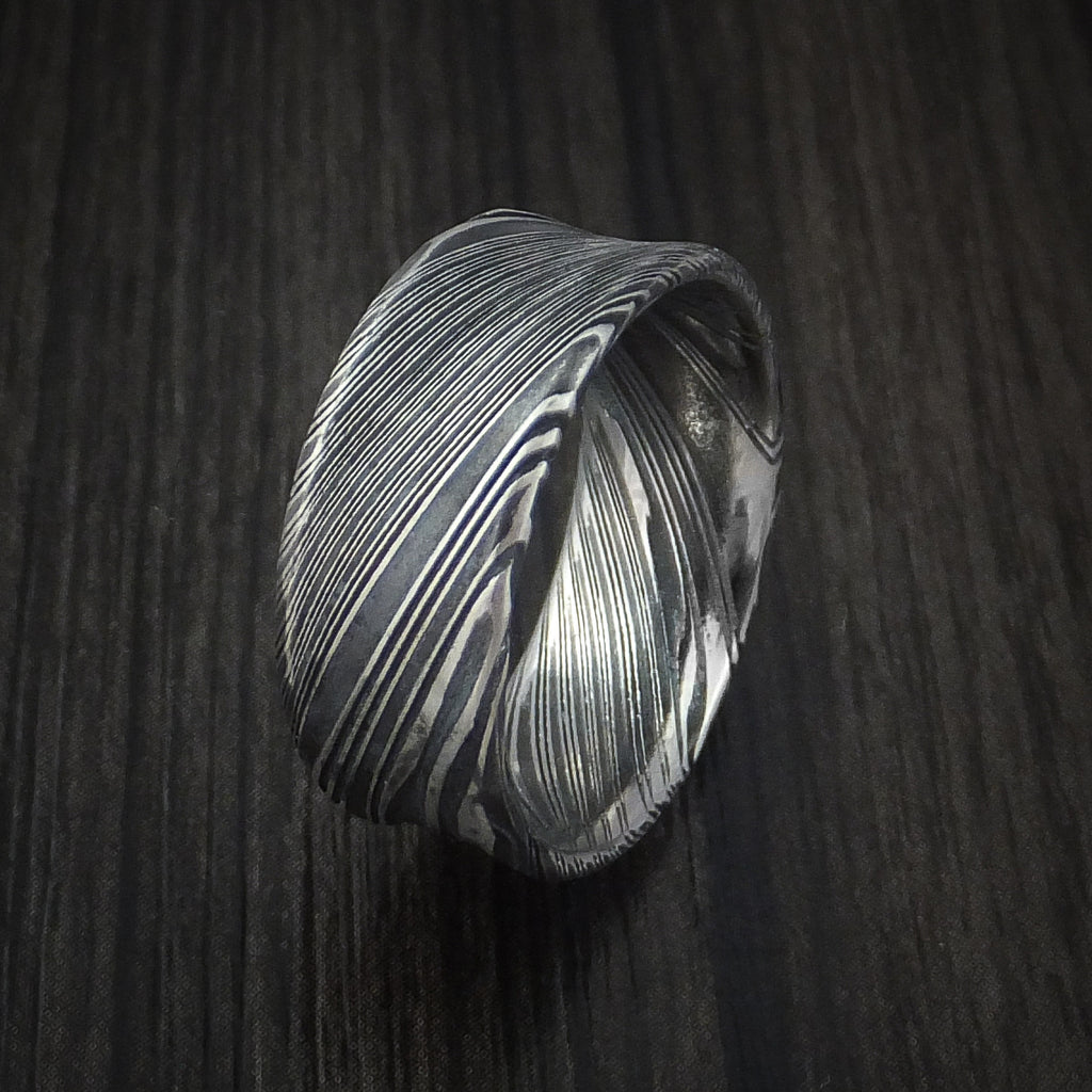 Kuro Damascus Steel Ring Concave Shape Wedding Band Custom Made