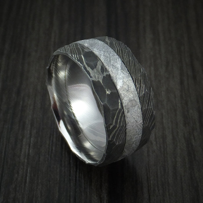 Gibeon Meteorite in Hammered Damascus Steel Wedding Band