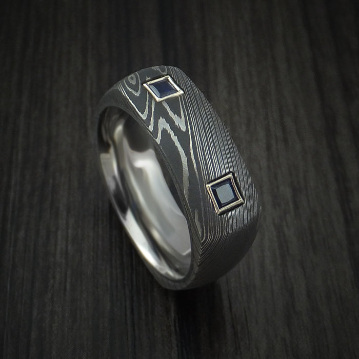 Damascus Steel Square Ring with Titanium Sleeve and Sapphires Custom Made Band