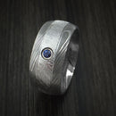 Damascus Steel and Gibeon Meteorite Ring with Sapphire set in Gold Custom Made Band