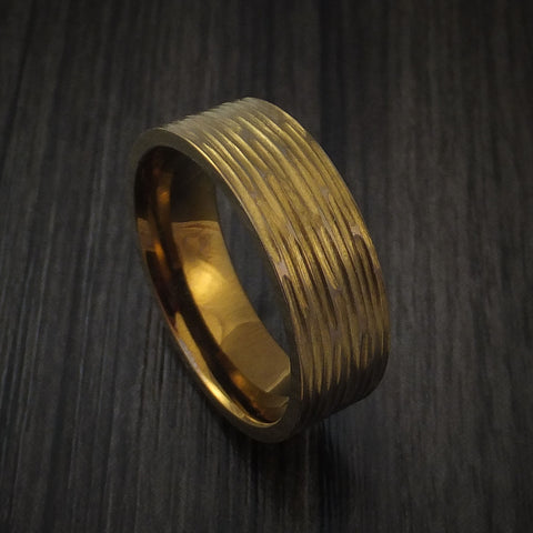 Titanium Ring Bronze Tree Bark Finish Custom Made Anodized Band