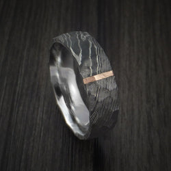 Damascus Steel Ring with Rock Hammer Finish and Vertical 14k Rose Gold Inlay Custom Made Band