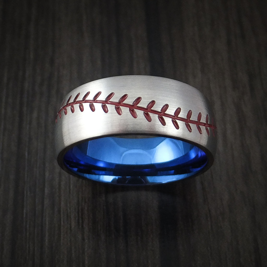 Titanium Baseball Ring with Red Stitching and Anodized Sleeve Fan Band Any Size and Color
