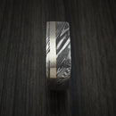 Kuro Damascus Steel Square Ring with 14k White Gold Inlay Custom Made Band