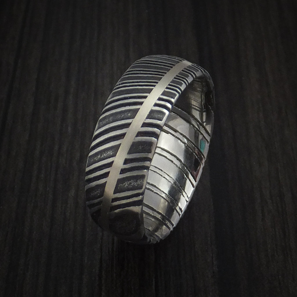 Kuro Damascus Steel Diagonal 14K White Gold Ring Wedding Band Custom Made