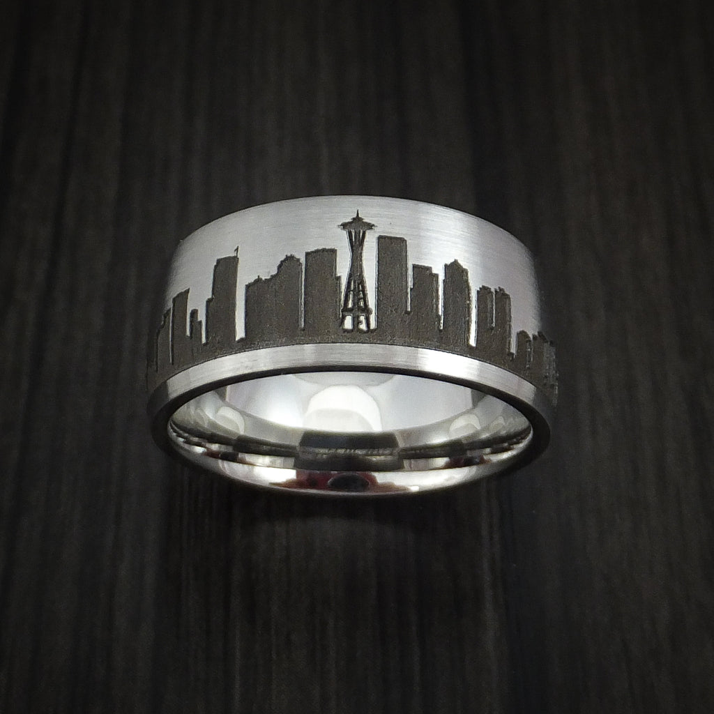 Cobalt Chrome Ring with Seattle Skyline Cityscape Custom Made Band