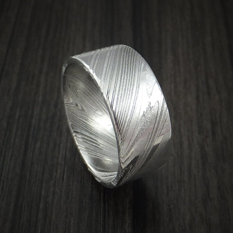 Kuro Damascus Steel Wide Ring Custom Made Wedding Band