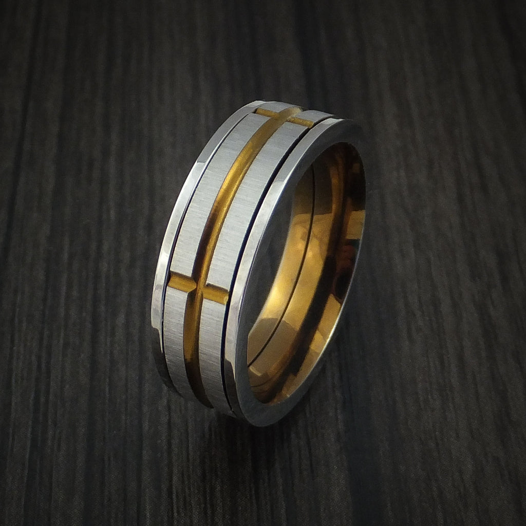 Titanium and Bronze Spinner Band Custom Made Ring