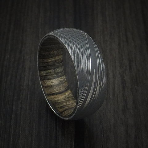 Damascus Steel Ring with Walnut Hardwood Sleeve Custom Made