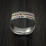 Kuro Damascus Steel Square Ring with 14k Rose Gold Inlays Custom Made Band