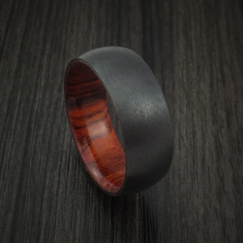 Black Zirconium and Cocobolo Hard Wood Sleeve Ring Custom Made
