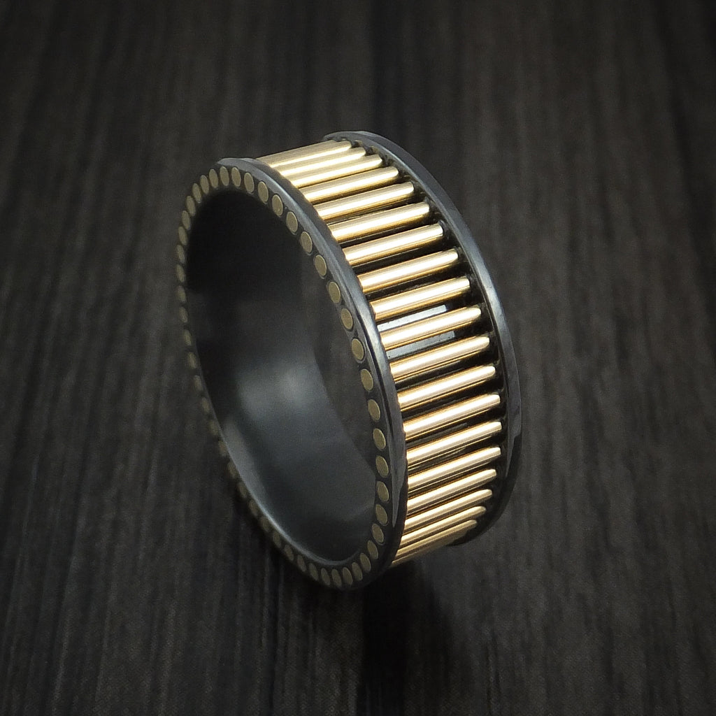 Black Zirconium and 14K Yellow Gold Rods Ring Custom Made Band by Revolution Jewelry