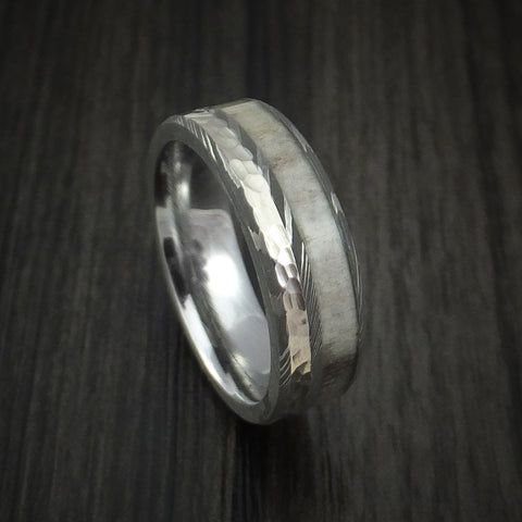 Damascus Steel with Hammered 14k White Gold and Antler Custom Made Ring