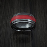 Black Zirconium Ring with Custom Color Inlay Custom Made Band