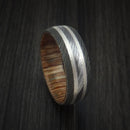 Damascus Steel Ring with Silver Inlays and Teak Hardwood Sleeve
