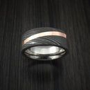 Damascus Steel Ring with Angled Copper Inlay and Titanium Sleeve Custom Made Band