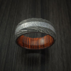 Damascus Steel and Gibeon Meteorite Hammered Ring with Cocobolo Hardwood Sleeve Custom Made Band