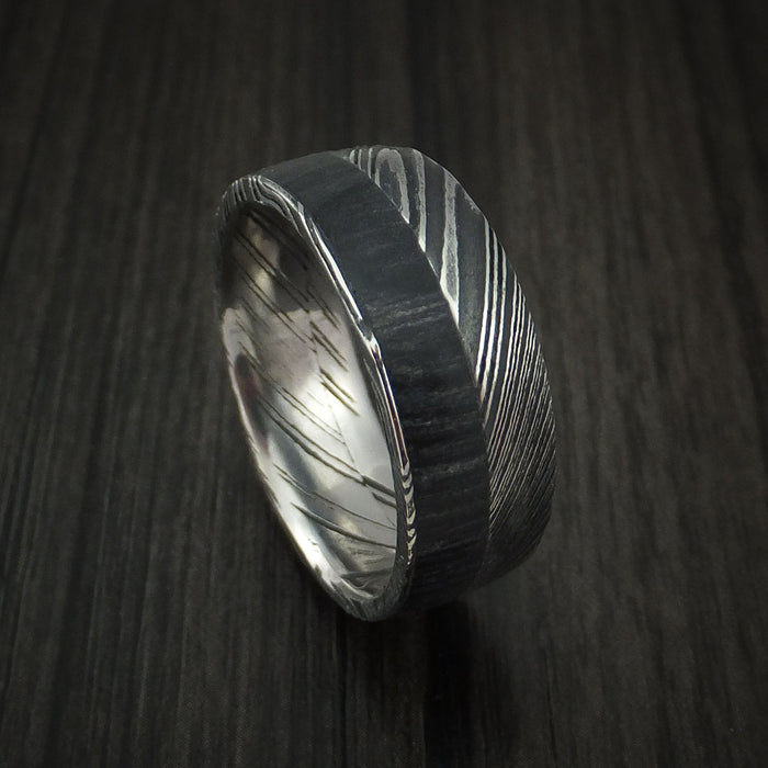 Kuro Damascus Steel Ring with Charcoal Hardwood Inlay Custom Made Band