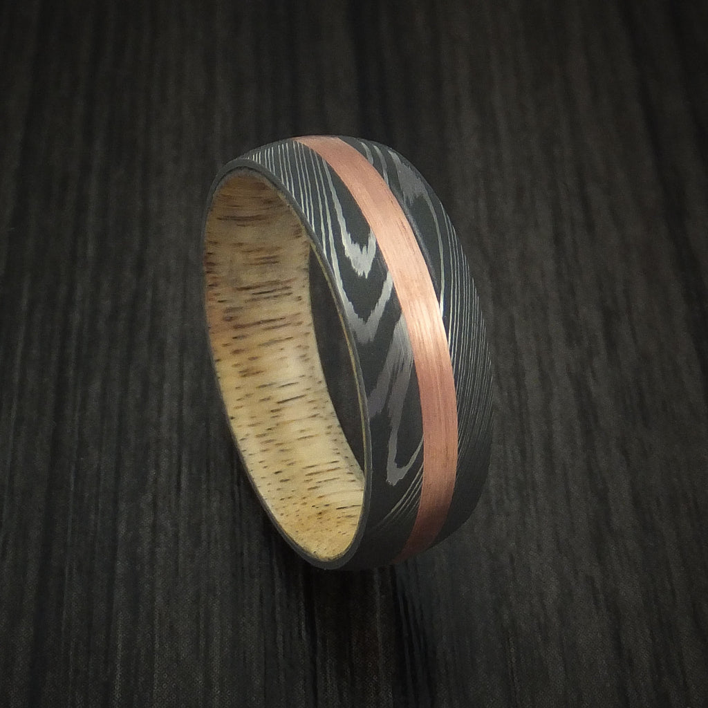 Damascus Steel and Copper Band Custom Made with Spalted Tamarind Wood Sleeve
