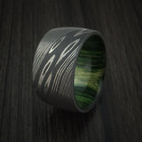 Damascus Steel Ultra Wide Band Custom Made Ring with Jade Wood Sleeve