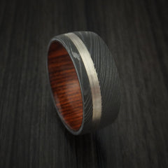 Damascus Steel Ring with 14k White Gold Inlay and Cocobolo Hardwood Interior Sleeve Custom Made Band