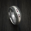 Damascus Steel Band with 4 Rubies and Diamond Set into a Silver Inlay Custom Made Ring