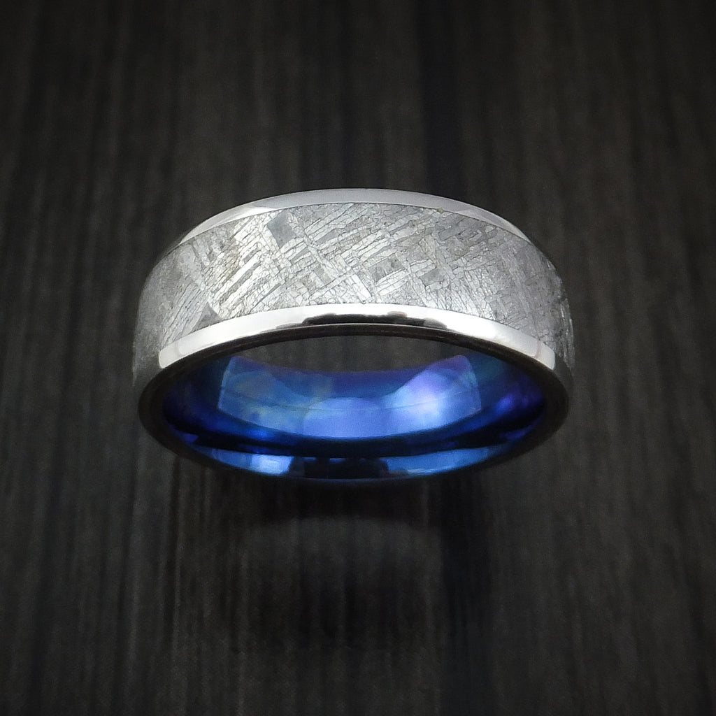 Cobalt Chrome Ring with Gibeon Meteorite Inlay and Anodized Blue Titanium Sleeve Custom Made