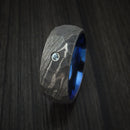 Damascus Steel Rock Hammer Ring with Blue Zircon and Anodized Sleeve Custom Made
