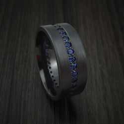 Black Zirconium Ring with Eternity Channel Set Sapphires Custom Made Thin Blue Line Band