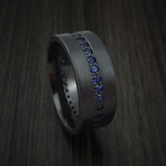 Black Zirconium Ring with Eternity Channel Set Sapphires Custom Made Thin Blue Line Band by Revolution Jewelry