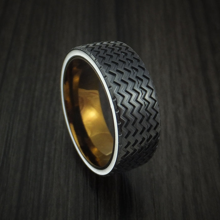 Black Zirconium Hot Rod White Wall Tire Tread Spinner Ring Custom Made Anodized Band