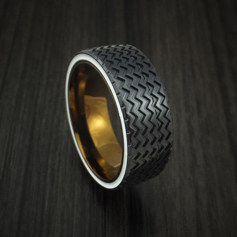 Black Zirconium Hot Rod White Wall Tire Spinner Ring Custom Made Anodized Band