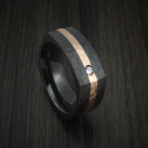 Black Zirconium Square Hammered Ring with 14k Rose Gold and Diamond Custom Made