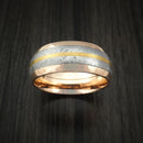 18k Rose Gold and Gibeon Meteorite Ring with 24k Gold Inlay Custom Made Band
