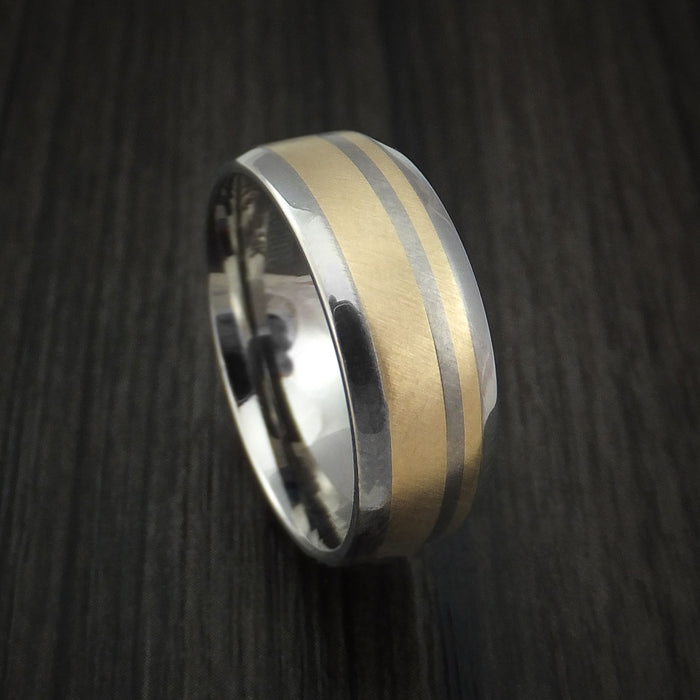 Titanium and 14k Yellow Gold Ring Custom Made Band