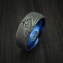 Damascus Steel Band with Anodized Titanium Sleeve and Custom Elk Engraving Hunter's Band