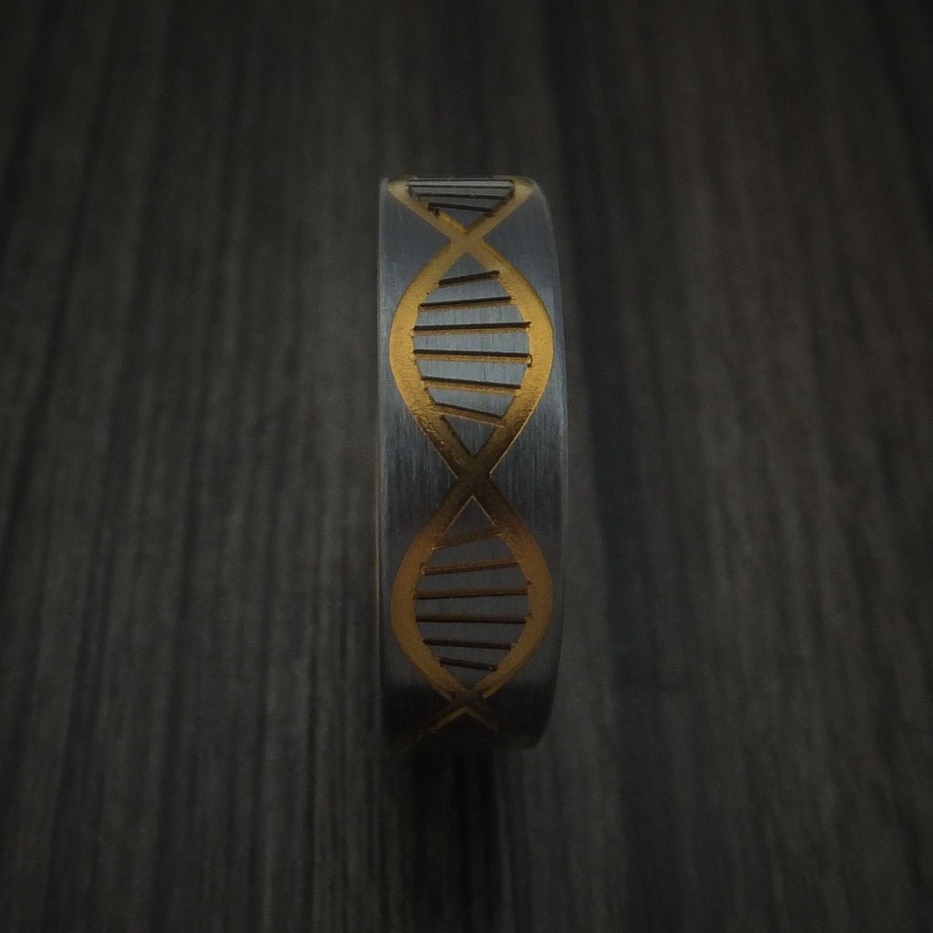 Black Zirconium DNA Strand Anodized Ring Custom made Band Any Finish and Sizing