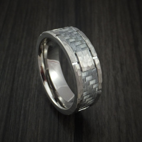 Cobalt Chrome Hammered Ring with Silver Carbon Fiber Inlay Custom Inlay