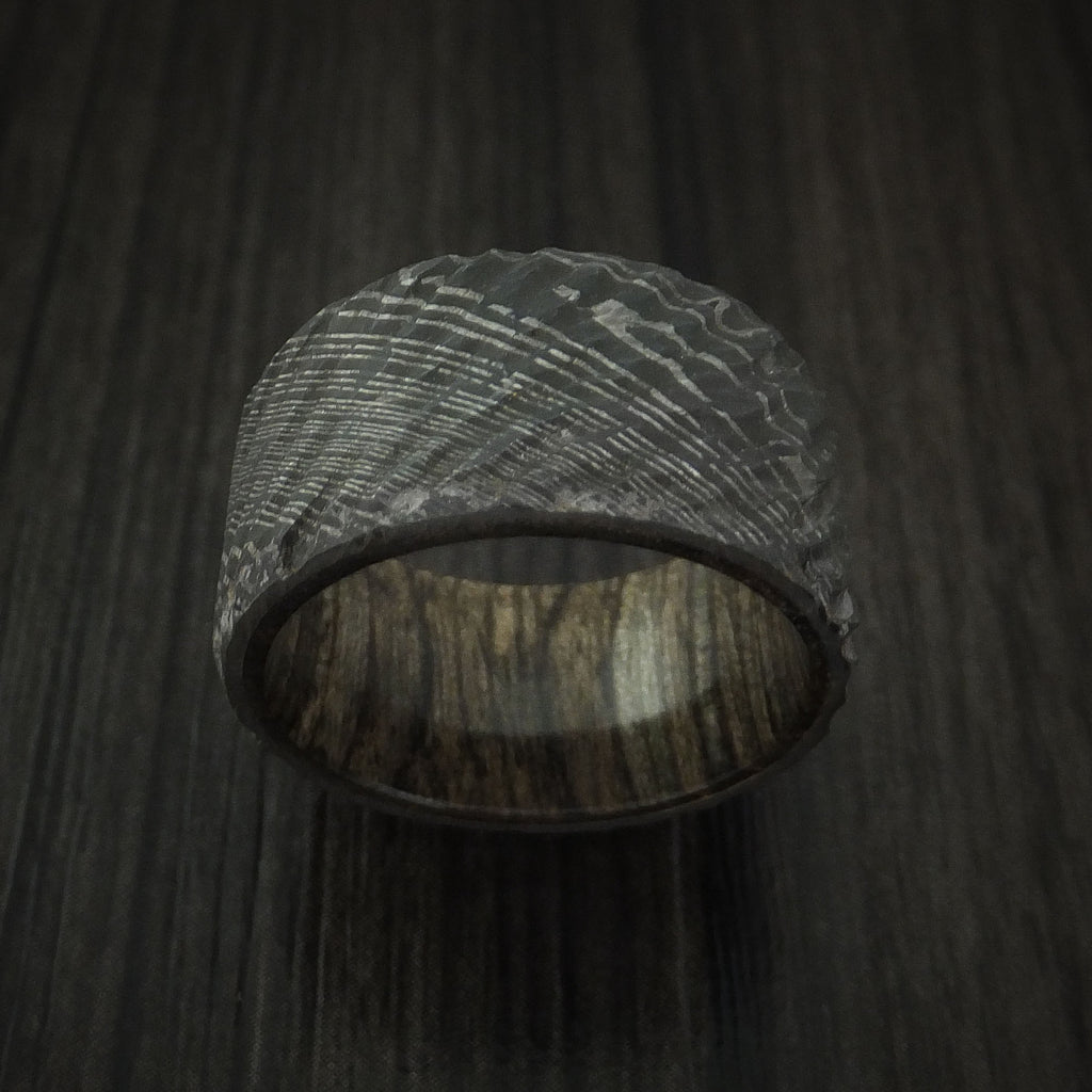 Damascus Steel Tree Bark Carved Ring with Walnut Hardwood Custom Made Band