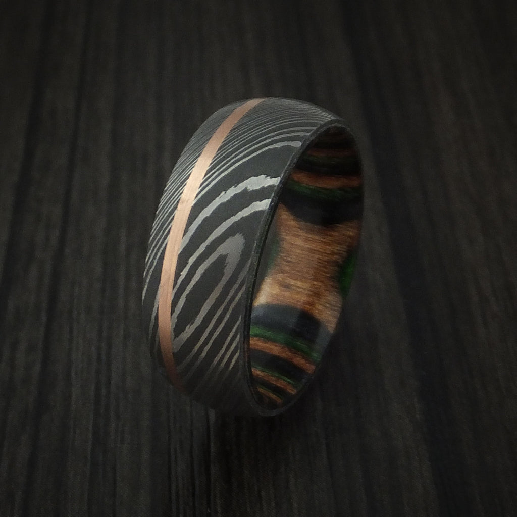 Damascus Steel Band with 14k Rose Gold and Camo Wood Sleeve Custom Made