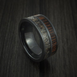 Black Zirconium ring with dark brown colored antler and lots of defined patterns
