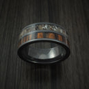 Black Zirconium Ring with Red Heart Hardwood and Antler Inlays Custom Made Band