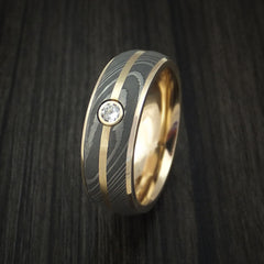 14K Yellow Gold Ring with Damascus Steel and Diamond Custom Made Band