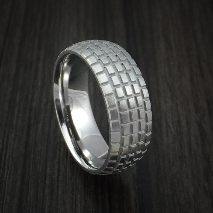 Cobalt Chrome Carved Tread Design Ring Bold Unique Band Custom Made to Any Sizing 4-22