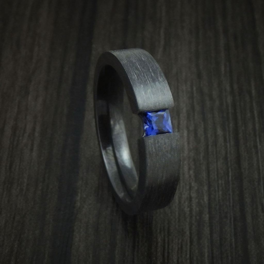 Black Zirconium Ring with Sapphire Custom Made Band